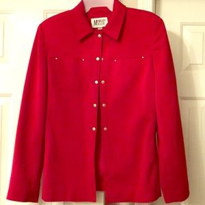 Red suede business jacket